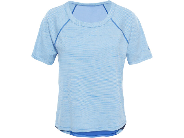 The North Face Motivation Stripe Camisa Manga Corta Mujer, Amparo Blue Heather